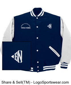 "Greedy Nature Classic Letter Varsity Jacket 'Light Navy"" Design Zoom"